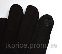 Женские трикотажные перчатки с сенсорными пальчиками на флисовой подкладке, фото 2