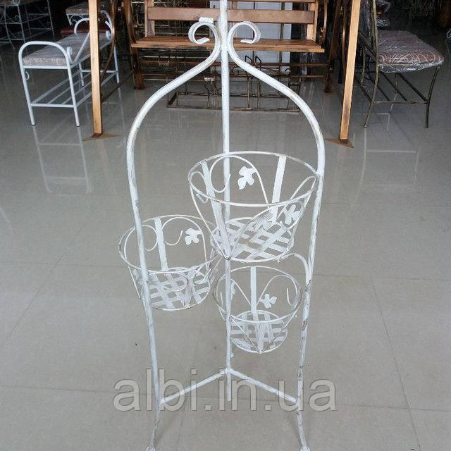 Кованая подставка для цветов на 3 вазона белая