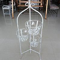 Кованая подставка для цветов на 3 вазона белая, фото 1