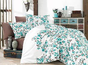 Одеяло Nazenin  satin Евро размер 195х215 см. Бело-берюзовое