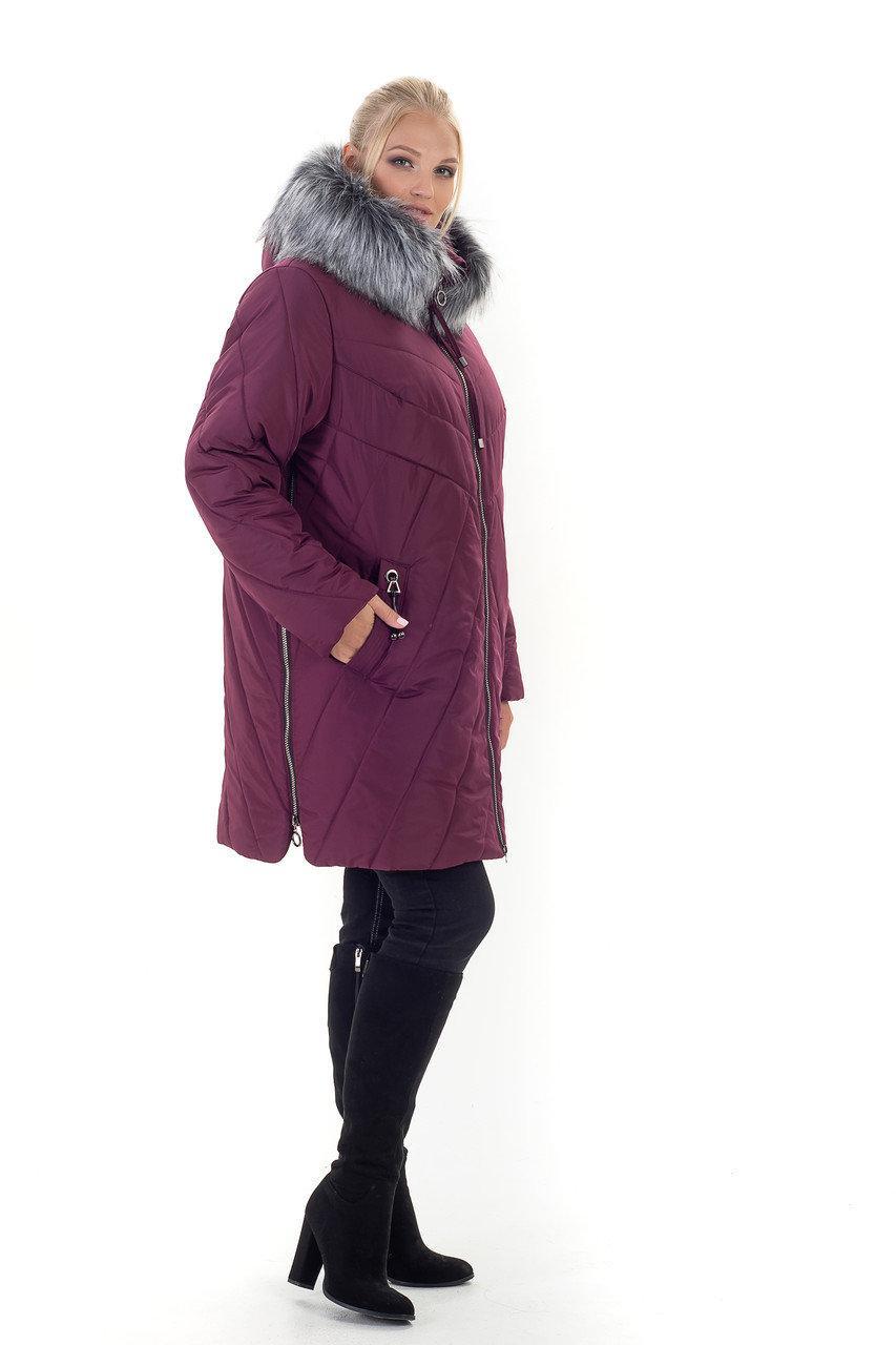Зимняя женская куртка с искусственным мехом, размеры 56-70