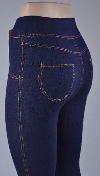 Бесшовные лосины леггинсы под джинс синий