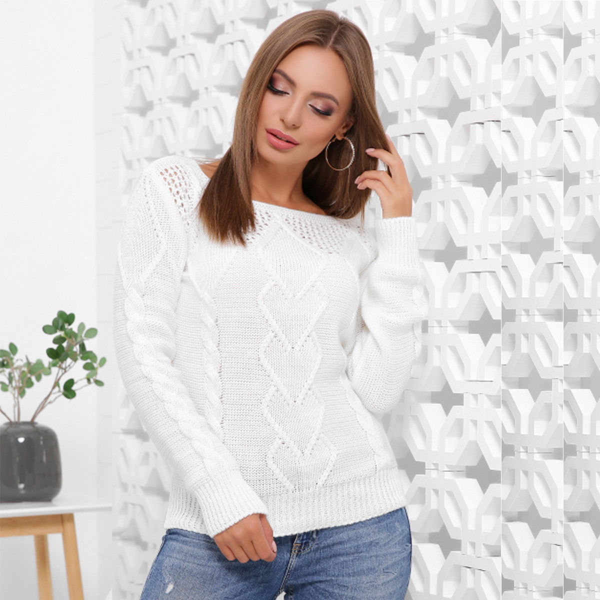 "Белый вязаный женский свитер ""Ингрид"""