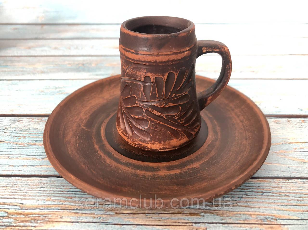 Чашка из красной глины для эспрессо 80 мл с блюдцем 12 см