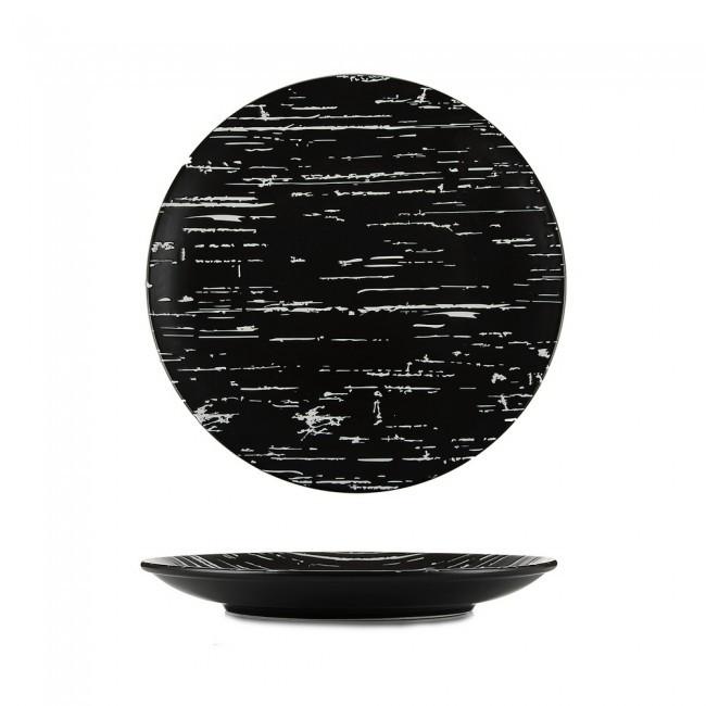 "Тарелка круглая фарфоровая мелкая 300мм. ""Темный камень"""