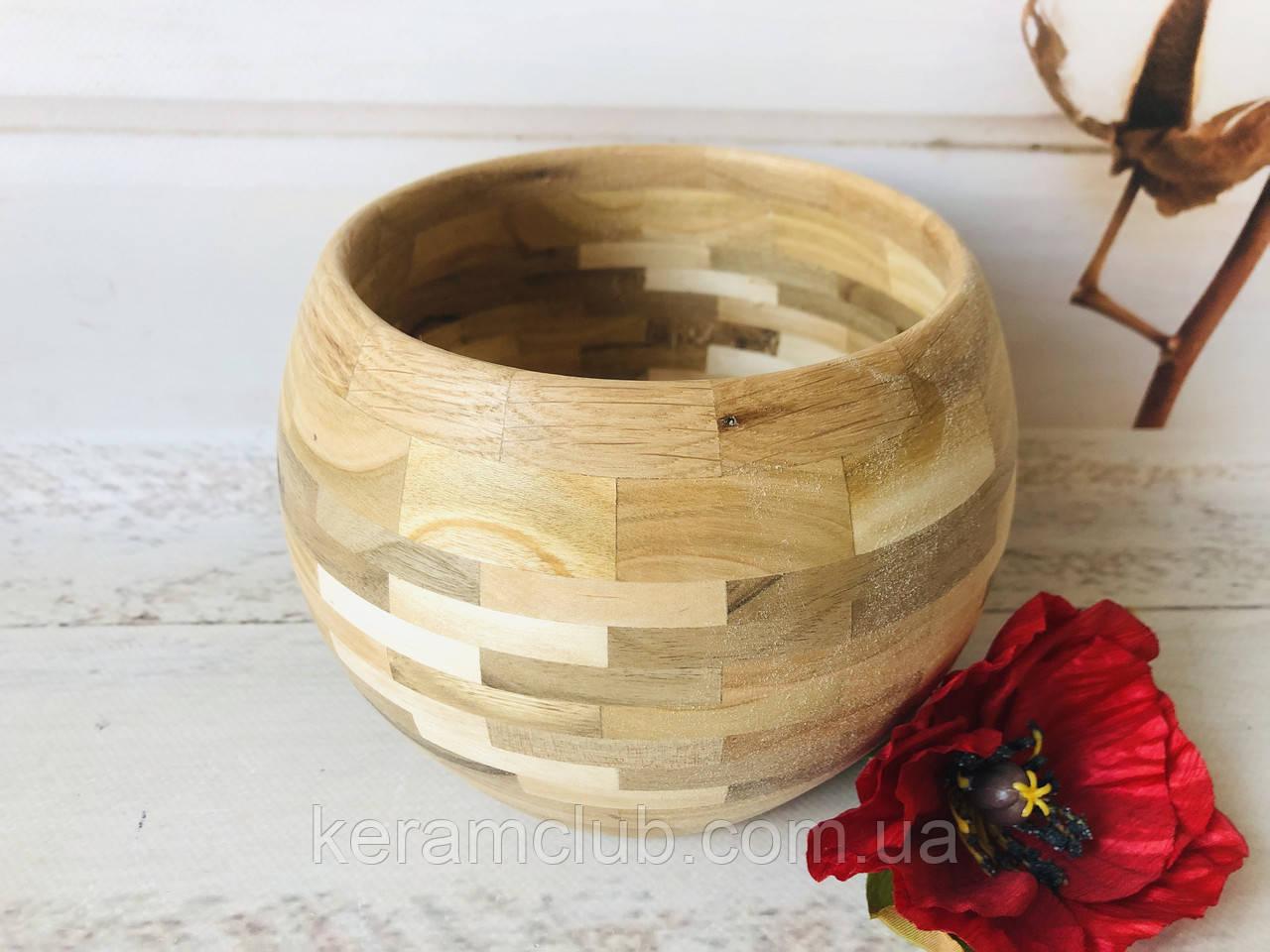 Деревянная конфетница из берёзы h 10 см d 13 см