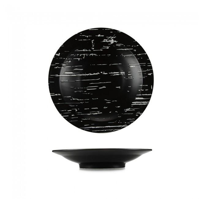 """Тарелка круглая черная фарфоровая глубокая 255мм. """"Темный камень"""""""