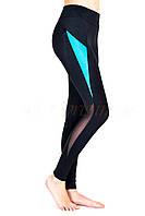 Спортивные лосины с высокой посадкой / леггинсы для фитнеса с утяжкой / с сеткой Valeri 1215 черные, фото 1