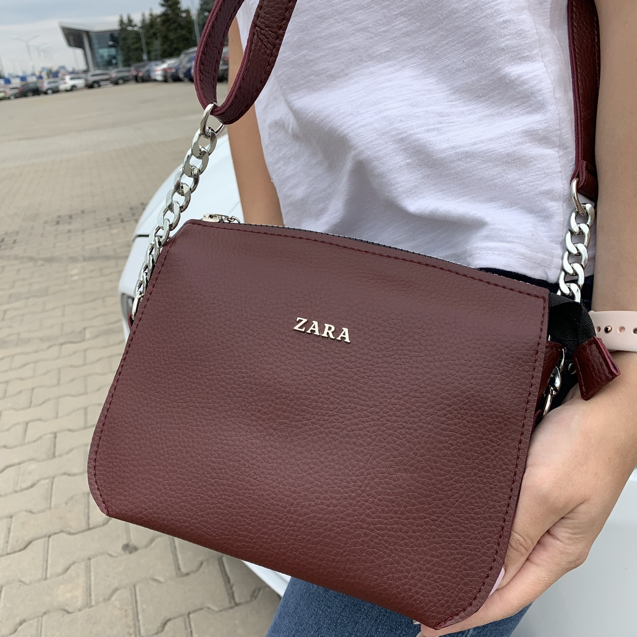 Женская сумка бордо Zara  (1536)