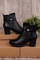 Женские осенние ботинки на каблуке 6,5 см черные эко-кожа, фото 1