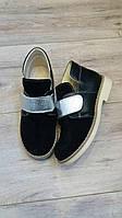 Детские ортопедические демисезонные черные туфли из натуральной кожи и замша р.21-35.