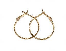 Серьги - кольца с рифлением фирмы Xuping, цвет: позолота. Диаметр серьги: 3 см, ширина: 1 мм.
