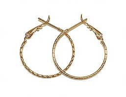 Серьги - кольца с рифлением фирмы Xuping, цвет: позолота. Диаметр серьги: 3,5 см, ширина: 1 мм.
