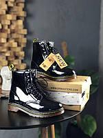 Высокие ботинки Dr. Martens Fur High Lacquered Black Мех Черные Лакированные Высокие
