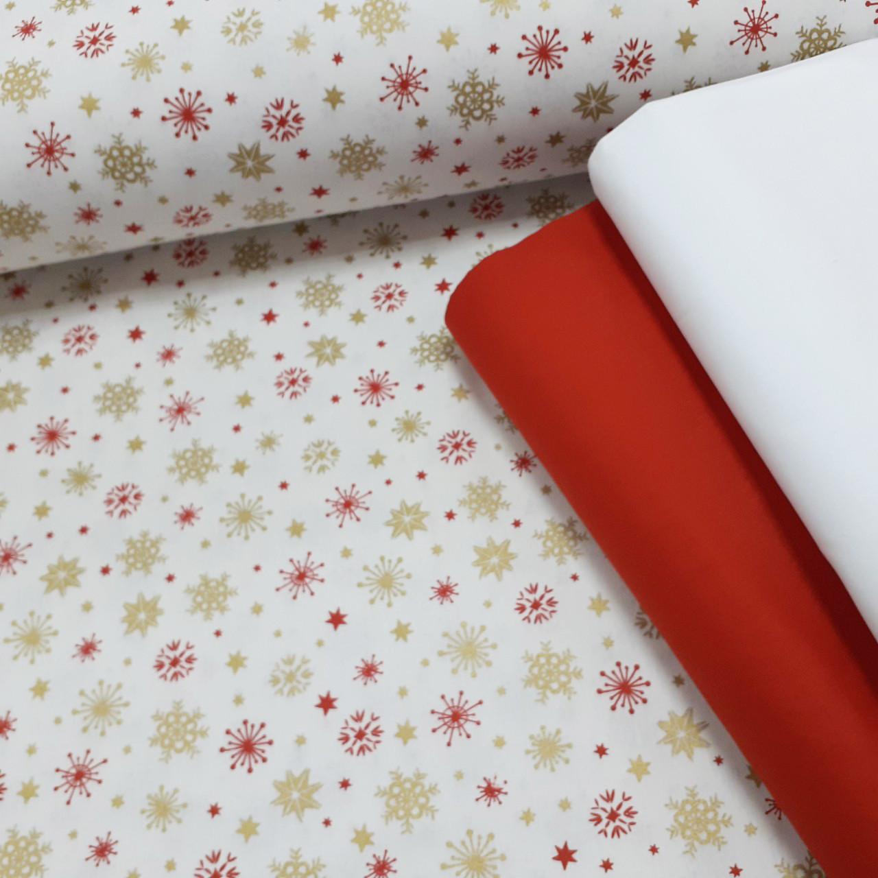 Хлопковая ткань (ТУРЦИЯ шир. 2,4 м) красно-золотые снежинки на белом (глиттер)