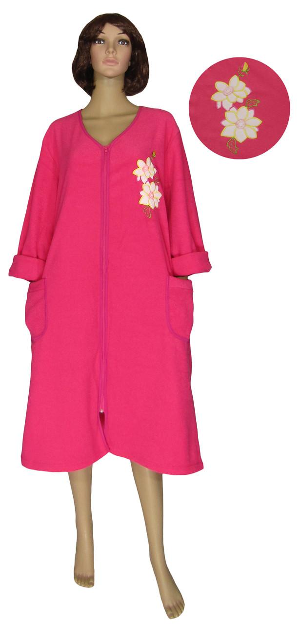 Халат женский теплый 03545 Mariya Batal Pink с вышивкой, начесная махра