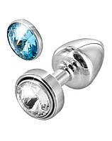Анальная пробка Diogol Anni Magnet Silver Кристалл/Аквамарин 25 мм (D902502)