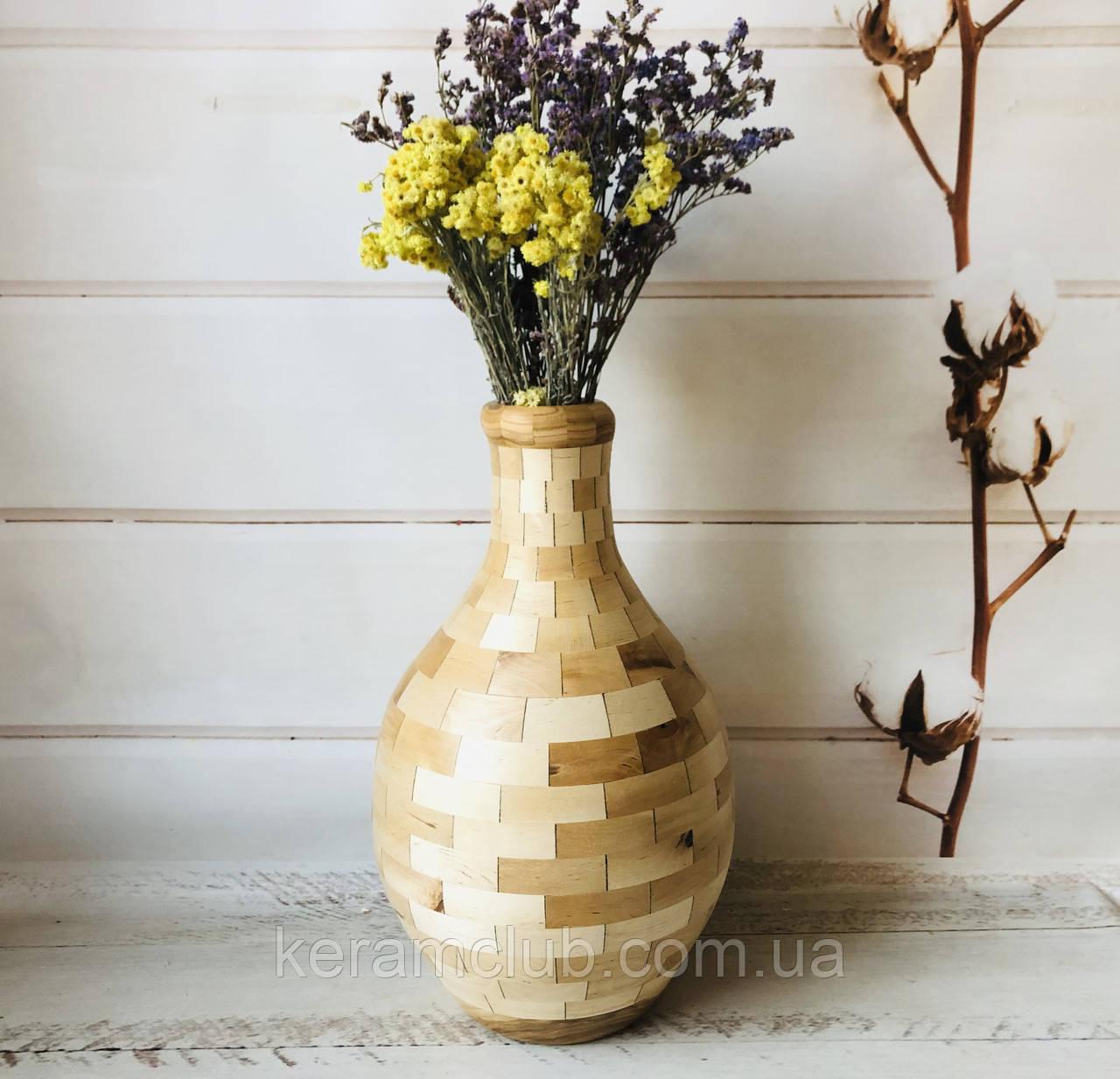 Деревянная ваза из берёзы h 40 см