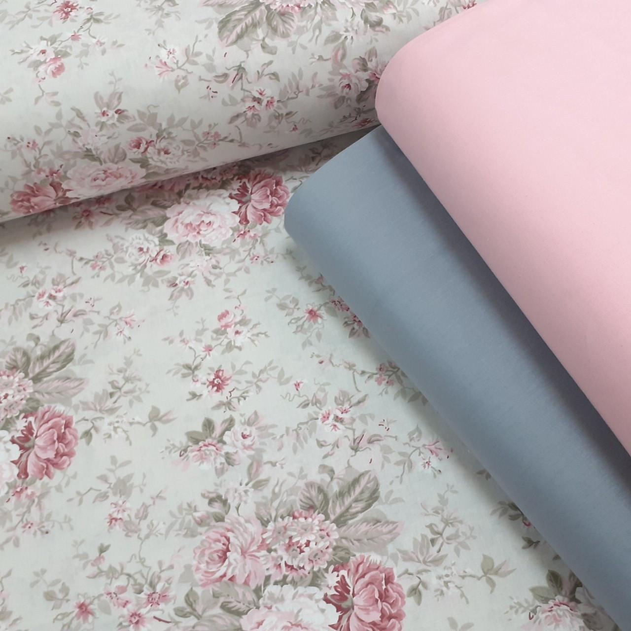 Хлопковая ткань (ТУРЦИЯ шир. 2,4 м) цветы в розовых тонах на светло-сером