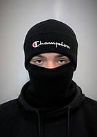 Шапка и бафф комплект мужской черный теплый зимний от Champion Чемпион