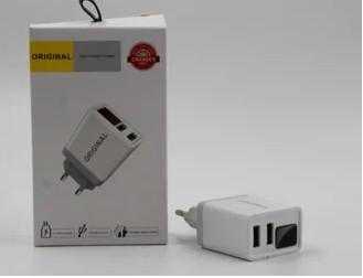 АДАПТЕР С ДИСПЛЕЕМ CX QC03 220V 2 USB WITH DIGITAL DISPLAY