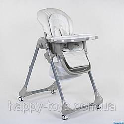 Стульчик для кормления, БЕЛЫЙ, мягкий PU, мягкий вкладыш, 4 колеса, съемный столик Toti CB-4018