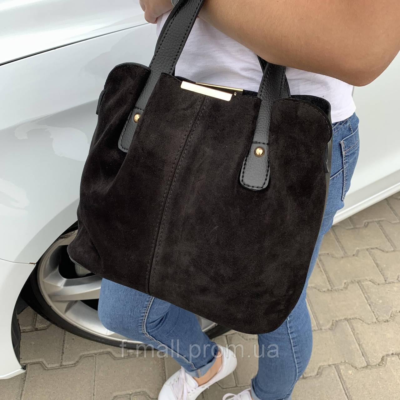 Женская сумка черная замш    (3066/1)
