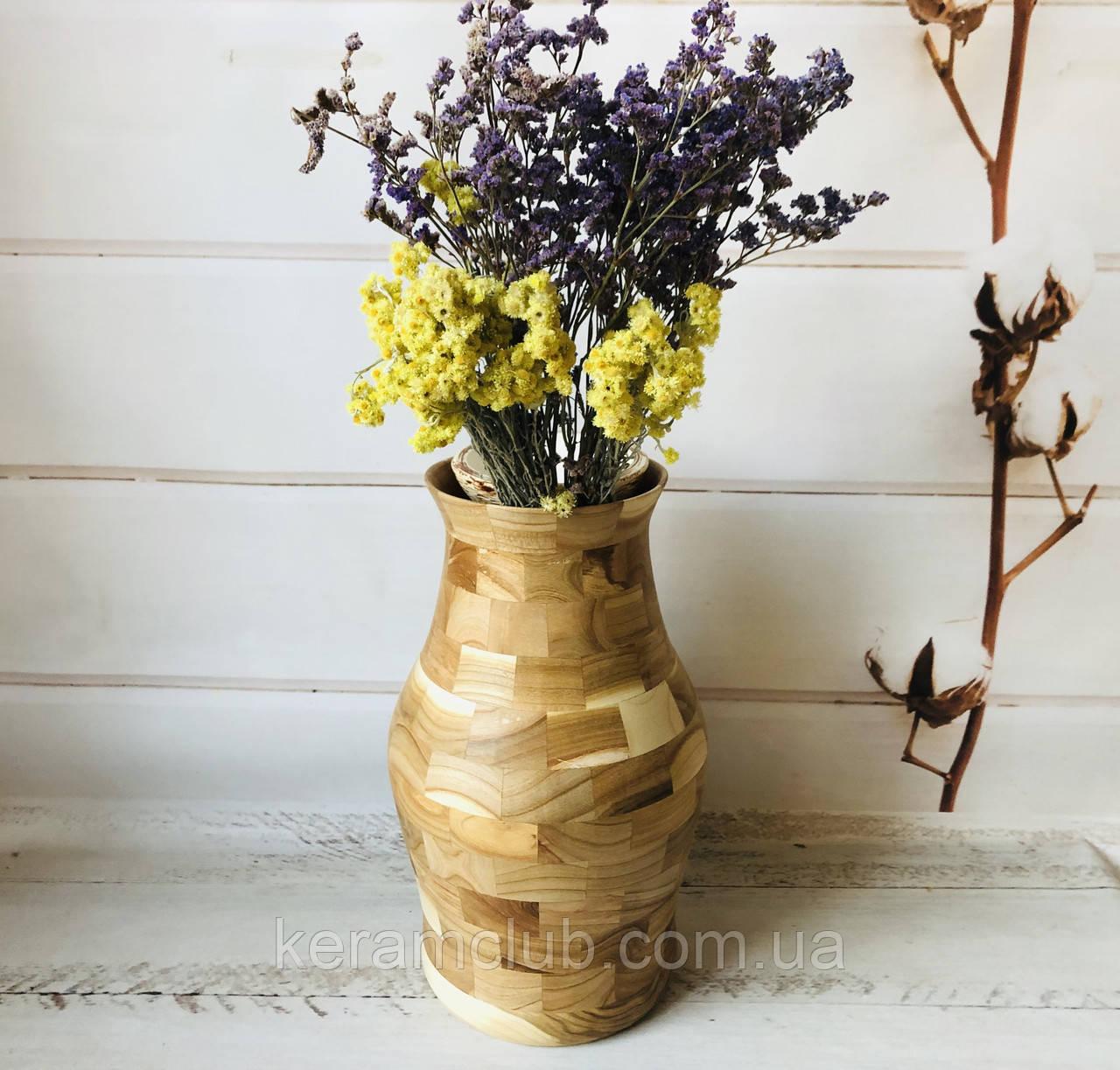 Деревянная ваза из берёзы h 32 см