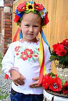 Трикотажная кофточка вышиванка для девочки с маками, фото 1