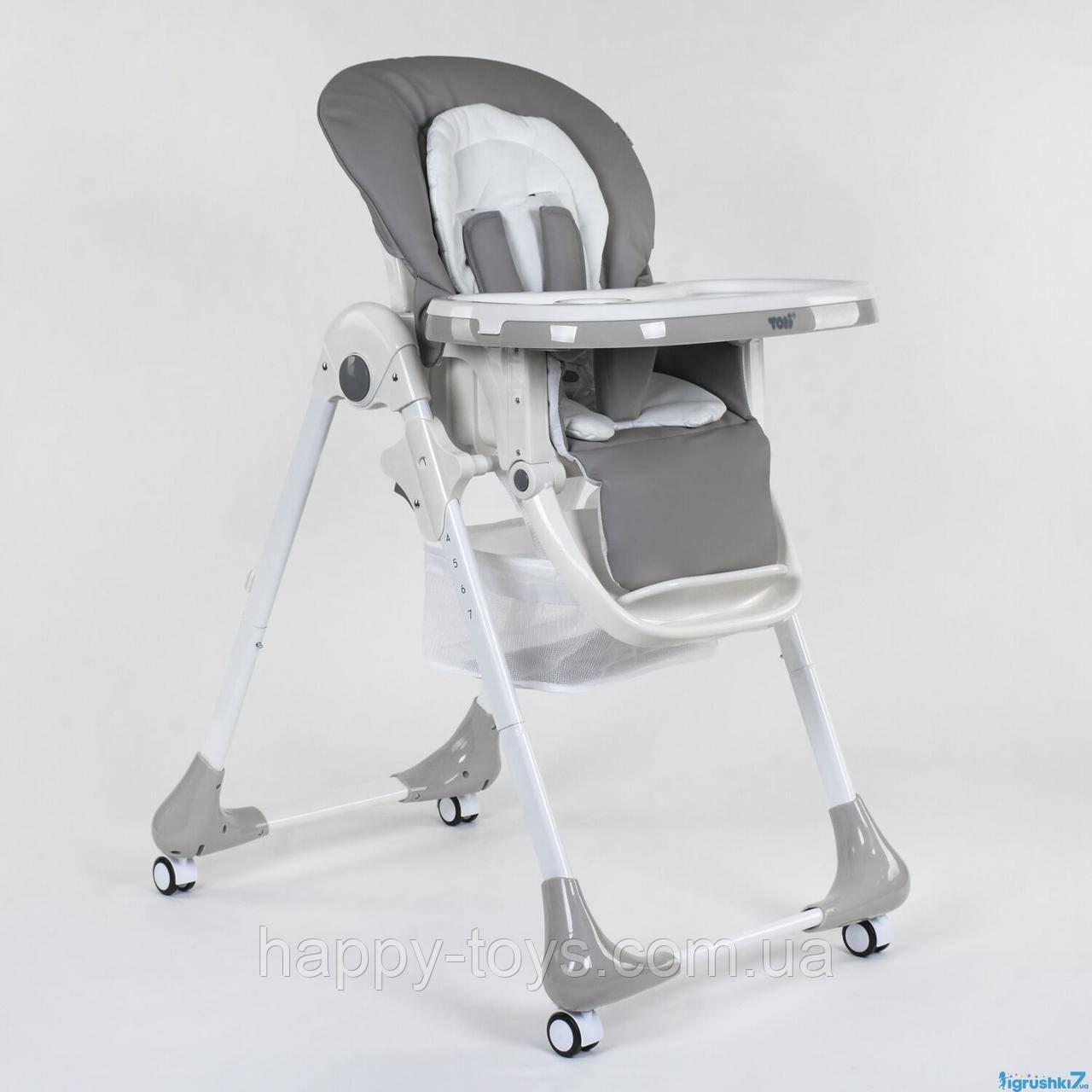 Стульчик для кормления, СЕРЫЙ, мягкий PU, мягкий вкладыш, 4 колеса, съемный столик Toti W-55800