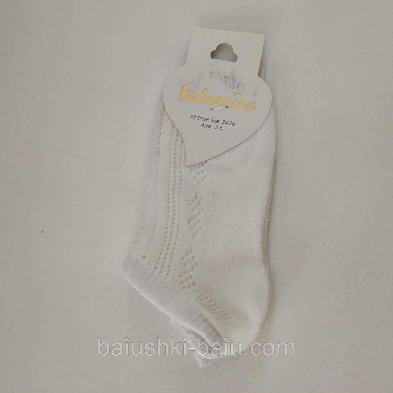 Детские хлопковые ажурные короткие носки для девочки, р. 5-6 лет (Турция)