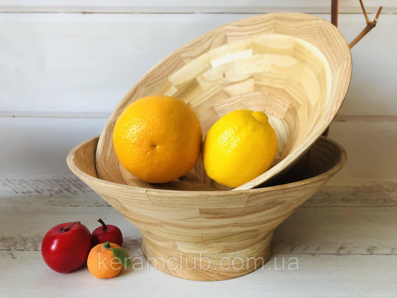 Деревянная фруктовница h 10 см d 27 см