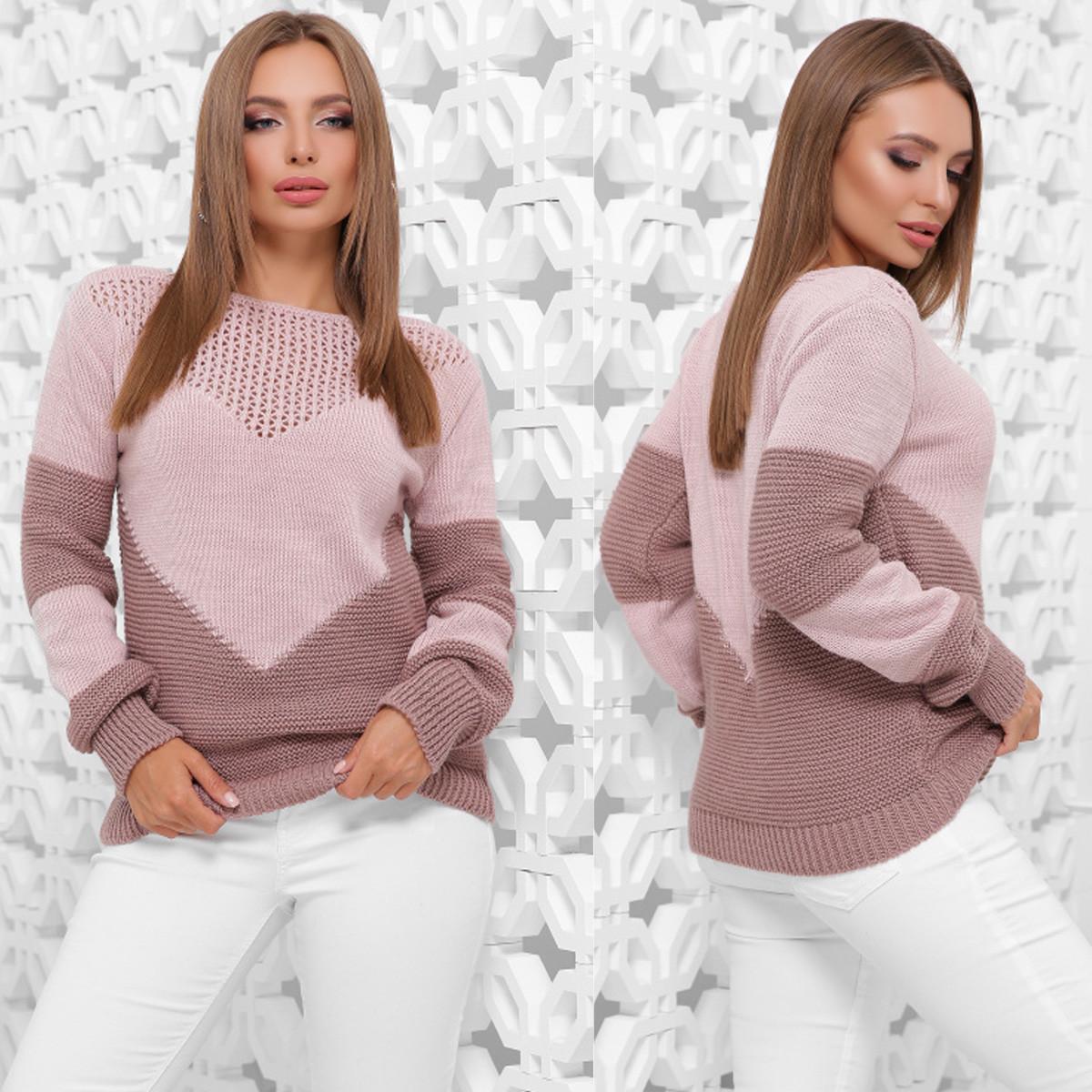 """Трендовый молодежный свитер двухцветный """"Сердце"""""""