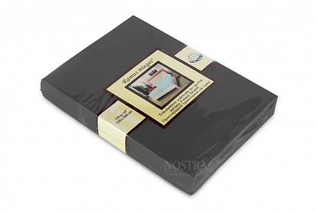 Простынь на резинке трикотажная Nostra 140х200 темно серая, фото 2
