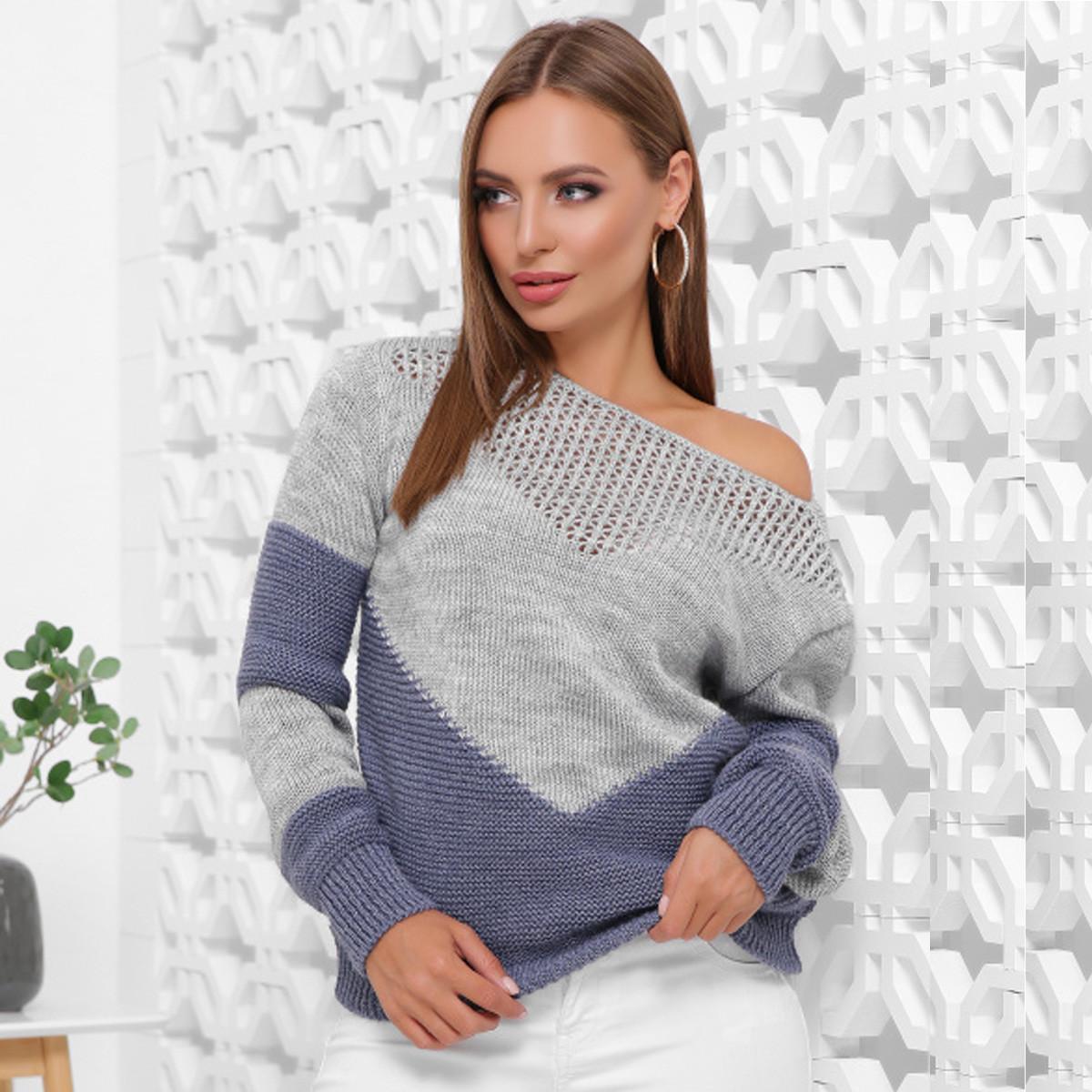 """Стильный двухцветный свитер вязаный """"Сердце"""""""