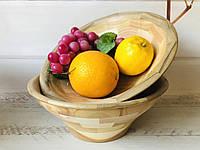 Деревянная фруктовница из красного дуба, ореха, берёзы h 10 см d 28 см, фото 1