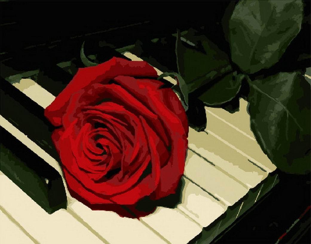 Раскраска по номерам Роза на рояле GX29840 Rainbow Art 40 х 50 см (без коробки)