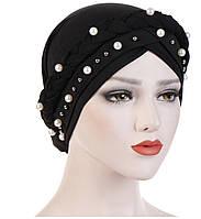 Чалма шапка однотонная с бусинками и косой черная