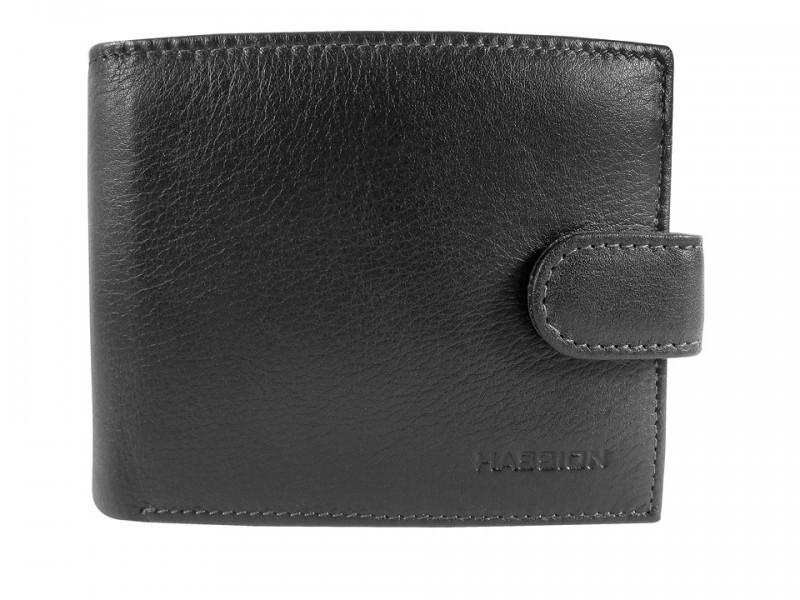 Горизонтальний чоловічий гаманець з натуральної шкіри чорному кольору HASSION (H-005B)