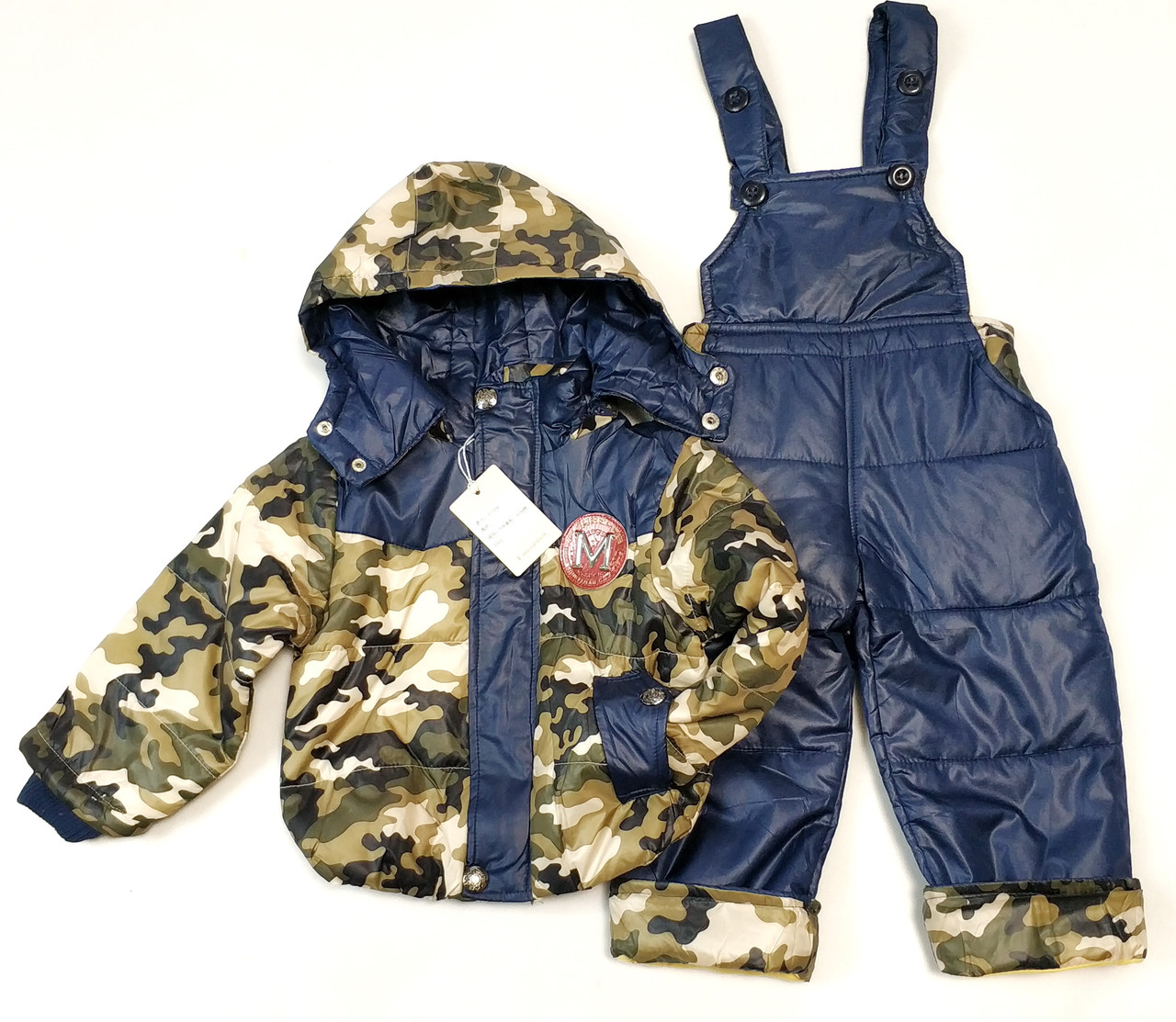Детский демисезонный комбинезон куртка и штаны для мальчика хаки сини