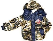 Детский демисезонный комбинезон куртка и штаны для мальчика хаки синий 1-2 года, фото 3