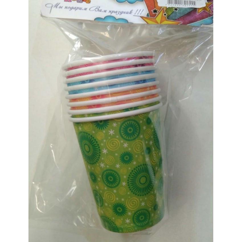 Стаканы бумажные 250 мл. разноцветные (8 шт.) Party House