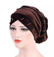 Чалма шапка - хиджаб однотонная бархатная с бусинами коричневая