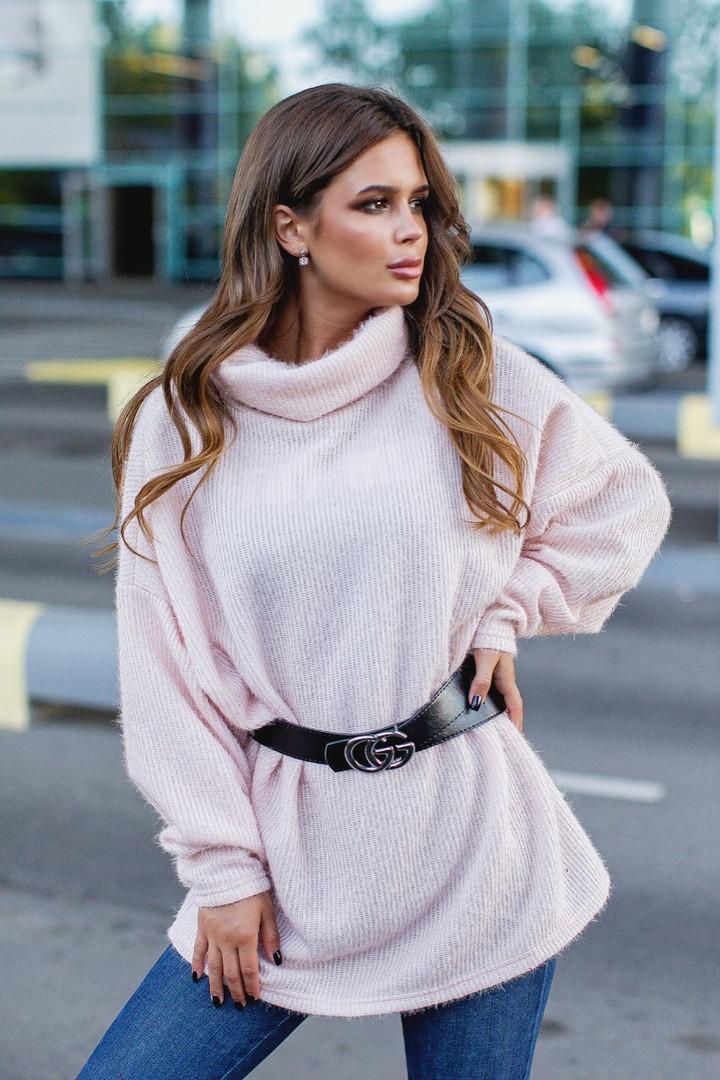 """Ангоровый женский свитер-туника """"GG"""" с поясом в комплекте (3 цвета)"""