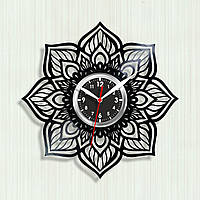 Мандала часы Мандала рисунок Лотос цветок Идея для комнаты подростка Черный циферблат Часы форма цветка 30 см