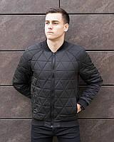 """Бомбер мужской Pobedov Jacket """"Progress"""" из европейской плащевки короткий на весну и осень (черный), ОРИГИНАЛ"""