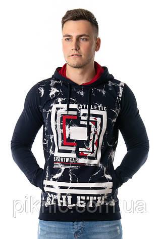 Молодежный джемпер, свитшот L,XXL Турция. Кофта с капюшоном для высоких, стройных мужчин. Хаки, фото 2