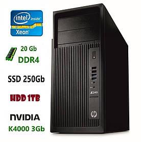 HP Z240 Рабочая станция e3-1245 v5/DDR4 20Gb/HDD 1Tb/SSD 250Gb/K4000 3Gb