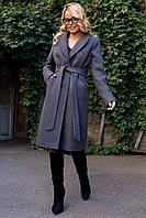 Фабричное пальто миди с поясом  Мехико 7827, фото 1
