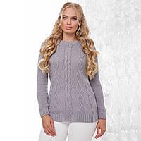 """Жіночий теплий сірий светр великого розміру """"Ніно"""", фото 1"""